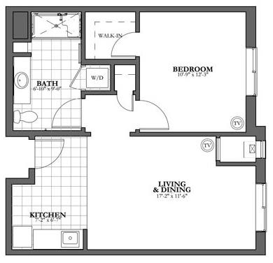 Bed and Bath Assisted Living Floor Plan