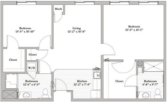Bed 2 bath Assisted Living Floor Plan