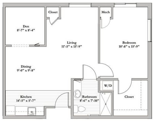 Bed 1 bath Assisted Living Floor Plan