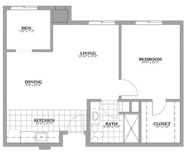 1 bed 1 bath and Den Assisted Living Floor Plan