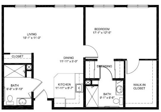 1 bed 2 bath Assisted Living Floor Plan