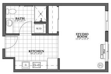 Studio and Bath Independent Living Floor Plan