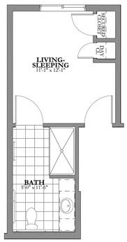1 bed 1 bath Memory Care Floor Plan