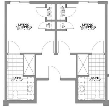 Dual Private Memory Care Floor Plan