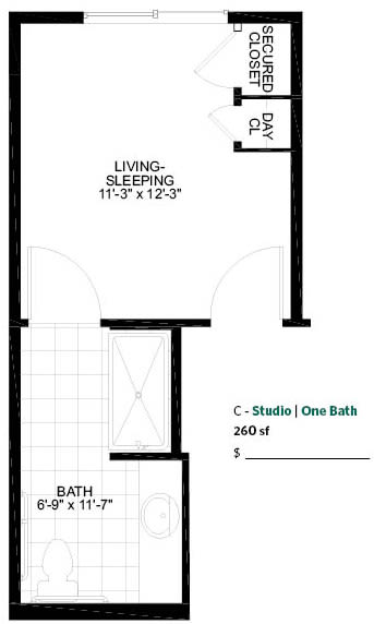 Studio Memory Care Floor Plan