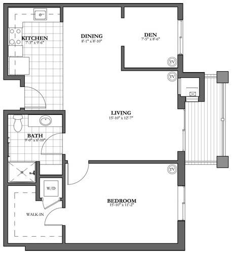 Bed and Bath Independent Living Floor Plan