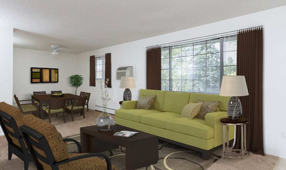 Spacious living room at Creek Hill Apartments in Webster