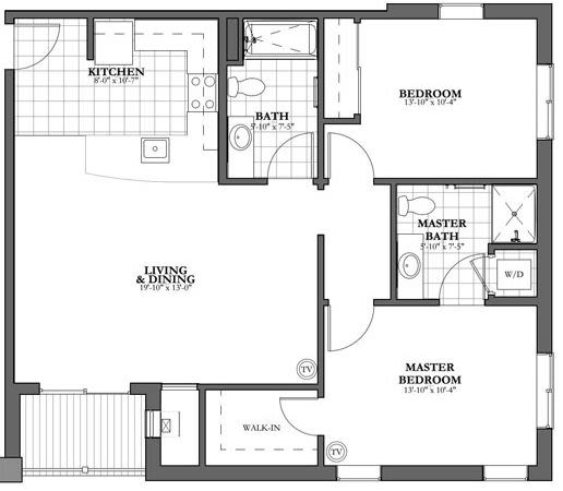 2 Bed and 2 Bath Independent Living Floor Plan