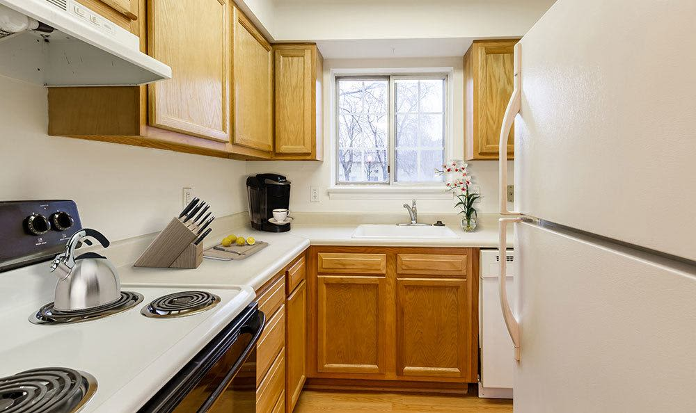 Modern kitchen at Elmwood Terrace Apartments and Townhomes in Rochester, NY