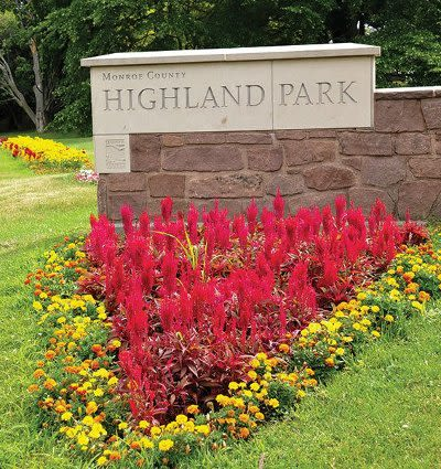 Monroe County Highland Park signage in Rochester, New York