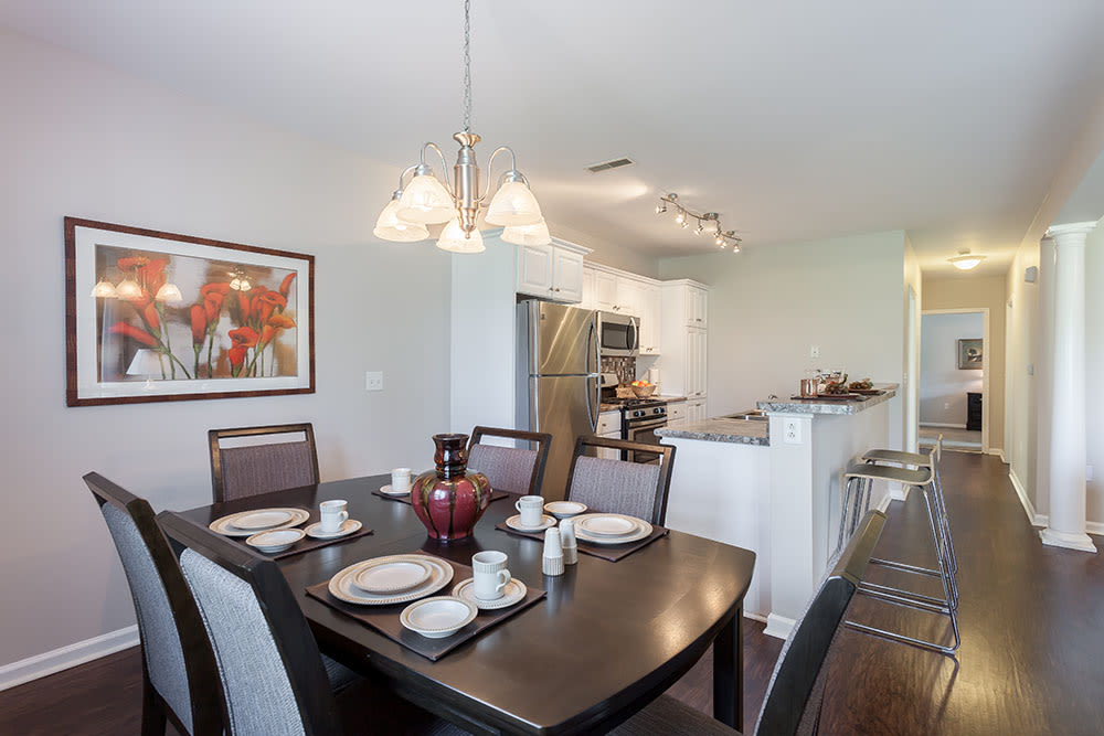 Elegant dining room at Oakmonte Apartments in Webster, NY