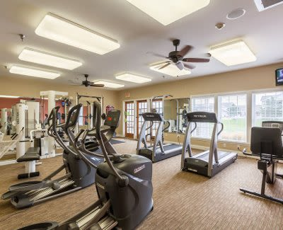 Stay healthy in our fitness center at Oakmonte Apartments in Webster, NY