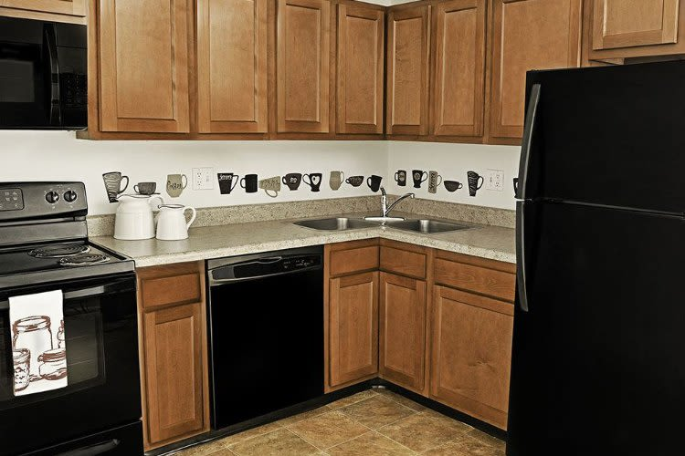 Modern kitchen at Webster Manor Apartments in Webster, NY