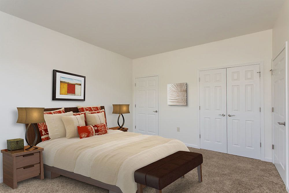 Enjoy a bedroom at Avon Commons modern apartments & townhomes