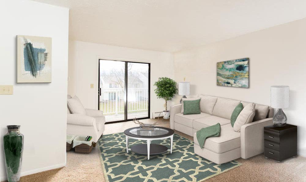 Spacious living room at Penbrooke Meadows in Penfield, NY