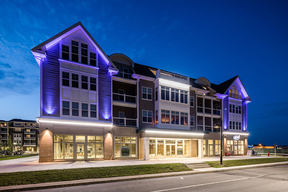 Building Exterior at Pinnacle North Apartments in Canandaigua, NY in the evening
