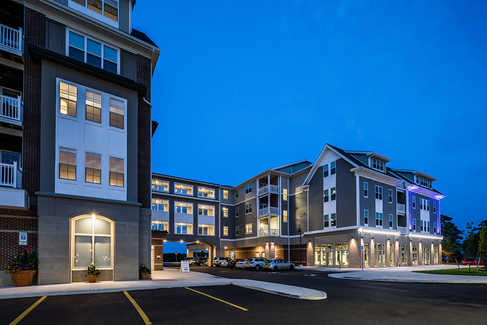 Apartment buildings and parking at Pinnacle North Apartments in Canandaigua, NY