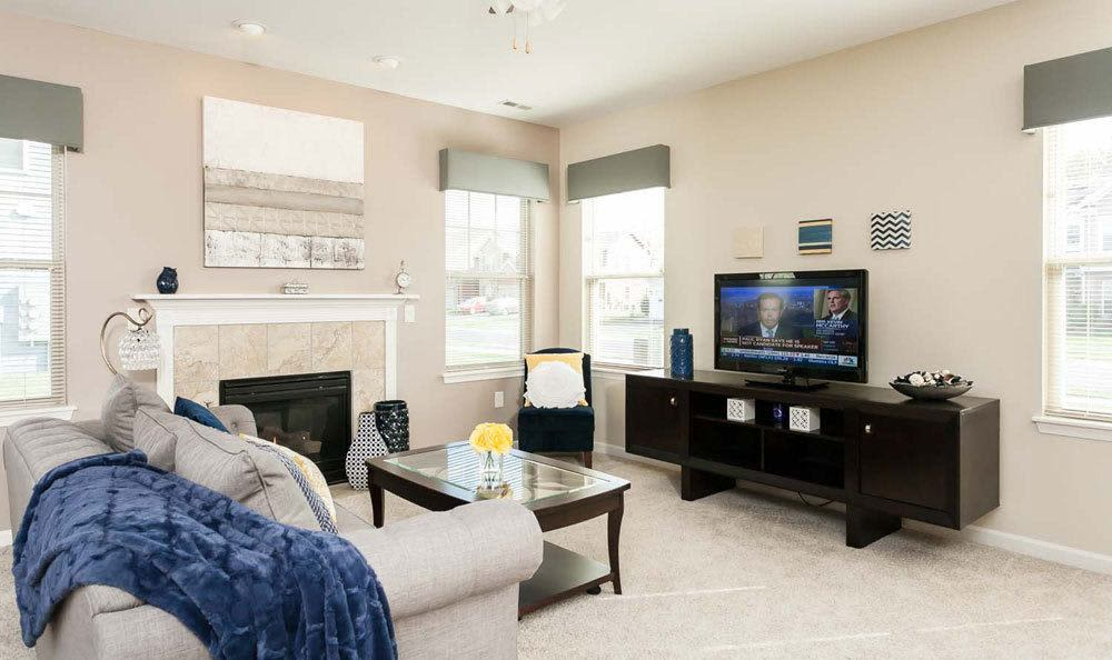 Cozy living room at Saratoga Crossing home