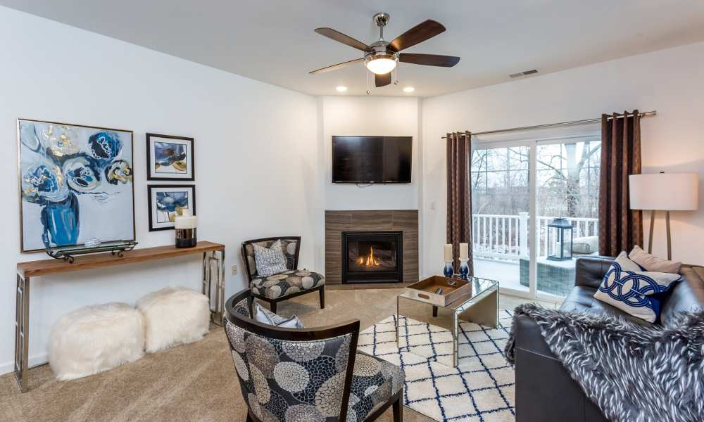 Spacious living room at The Links at CenterPointe Townhomes in Canandaigua