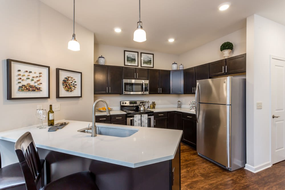 Modern kitchen at The Links at CenterPointe Townhomes in Canandaigua, NY