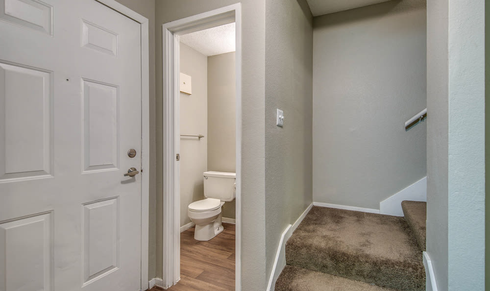 Bathroom and Stairs at Springhill Apartments