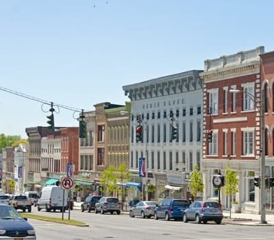 Buildings on South Main Street in Canandaigua, New York