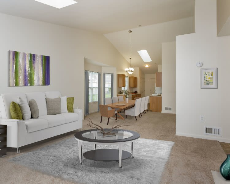 Cozy living room at Villas of Victor & Regency Townhomes in Victor, New York