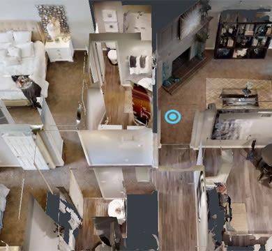 Cozy modern living room at Lenexa.