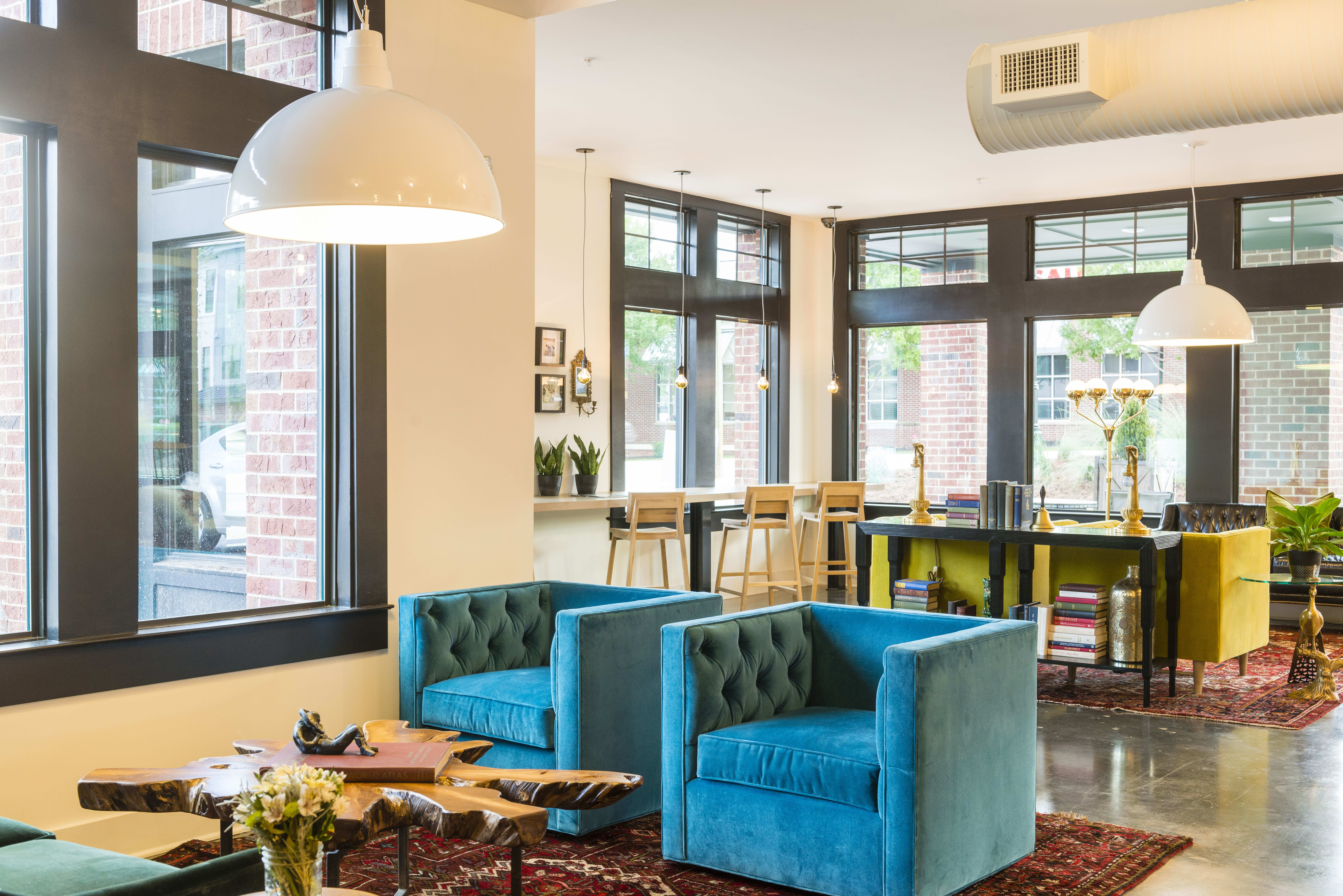 Community seating at apartments in Chamblee