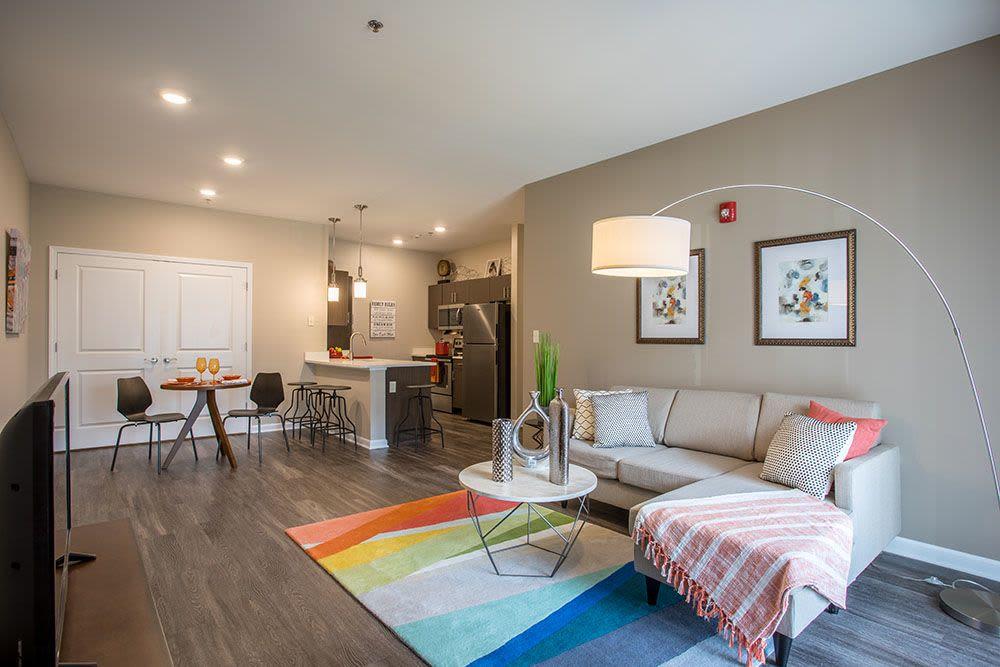 Spacious living room at The Landings at Meadowood in Baldwinsville, New York