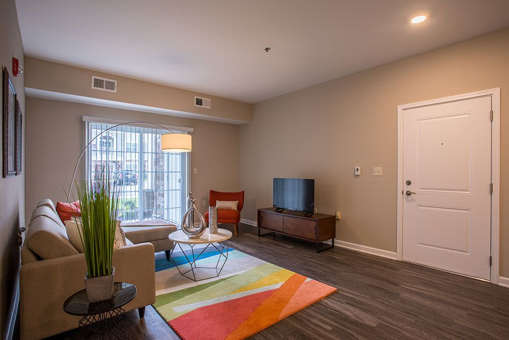 Spacious living room at apartments in Baldwinsville, New York