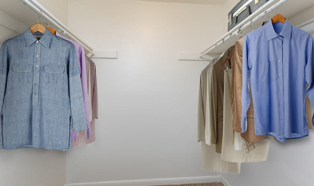 Walk-in closet in bedroom at Crossroads Apartments