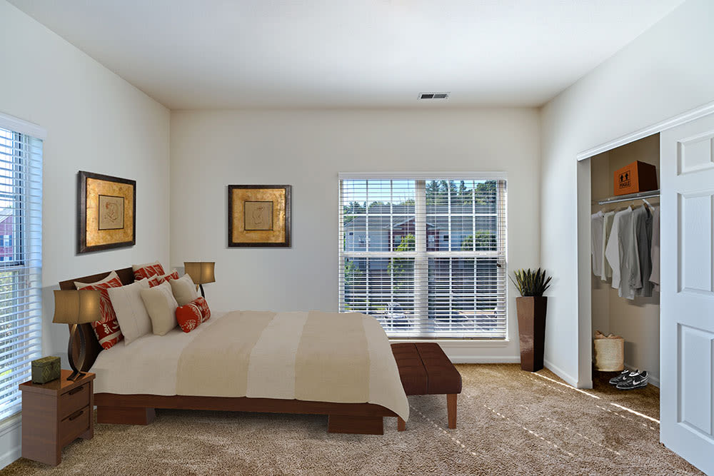 Bright inviting bedroom at Christopher Wren Apartments