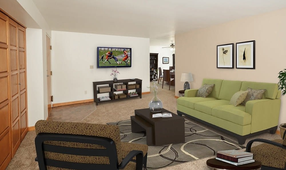 Our apartments & townhomes in Orchard Park, NY showcase a modern living room