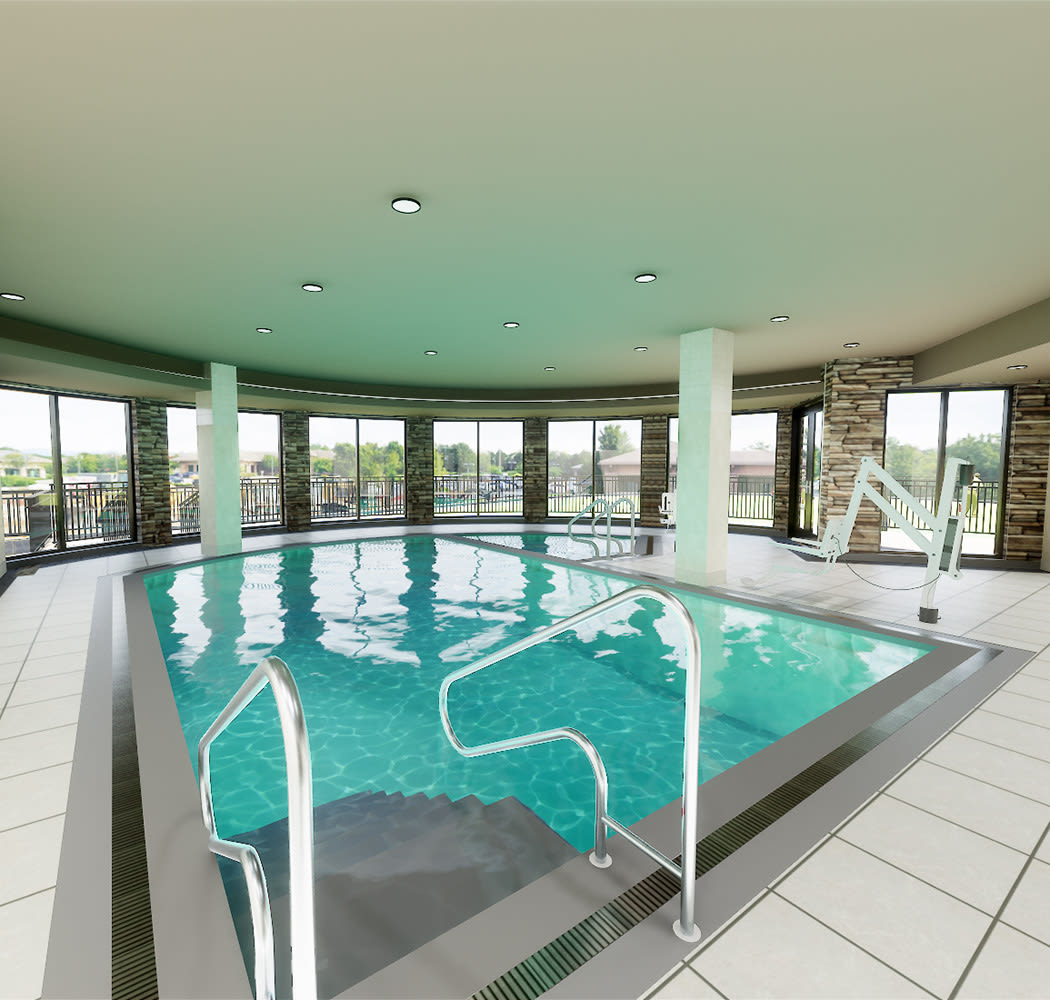 Our gorgeous indoor pool is a great spot to get some exercise or just relax here at The Fairways of Ironhorse