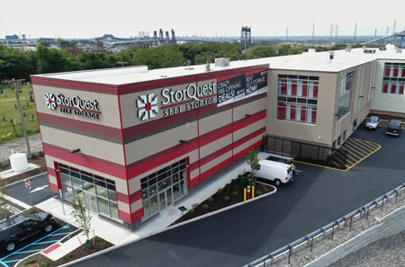 Jersey City self storage facility exterior aerial photo.