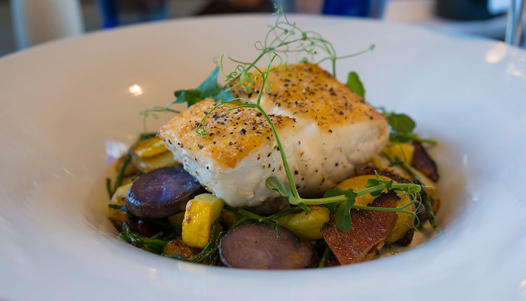 Delicious halibut dish prepared fresh at The Fairways of Ironhorse