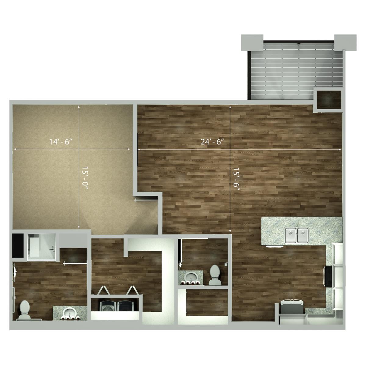 One Bedroom Large   1,036 Sq Ft. Leawood Large One Bedroom Floor Plan