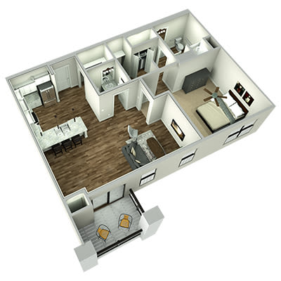 Leawood large one bedroom floor plan