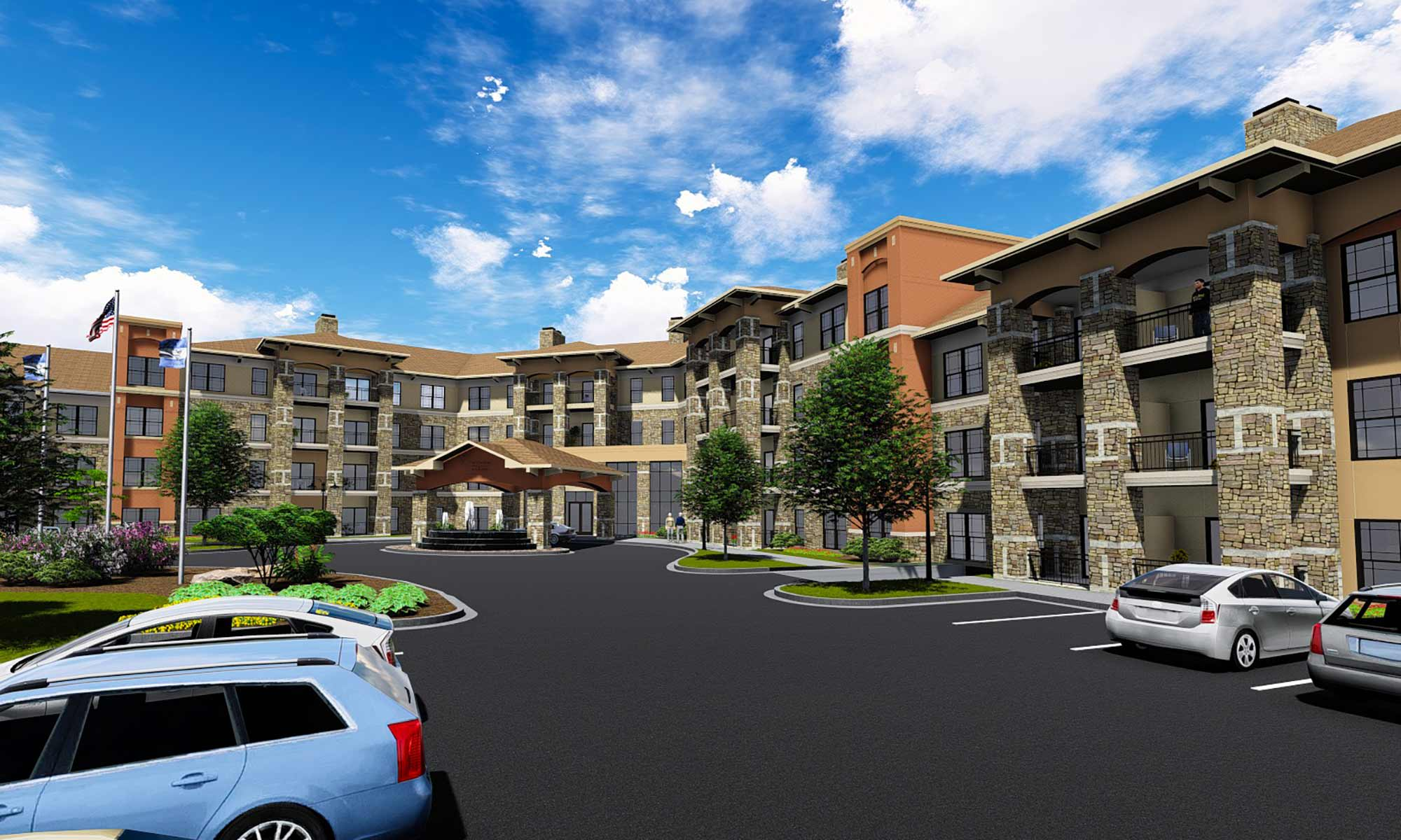 Exterior view of our luxury senior living community at The Fairways of Ironhorse in Leawood