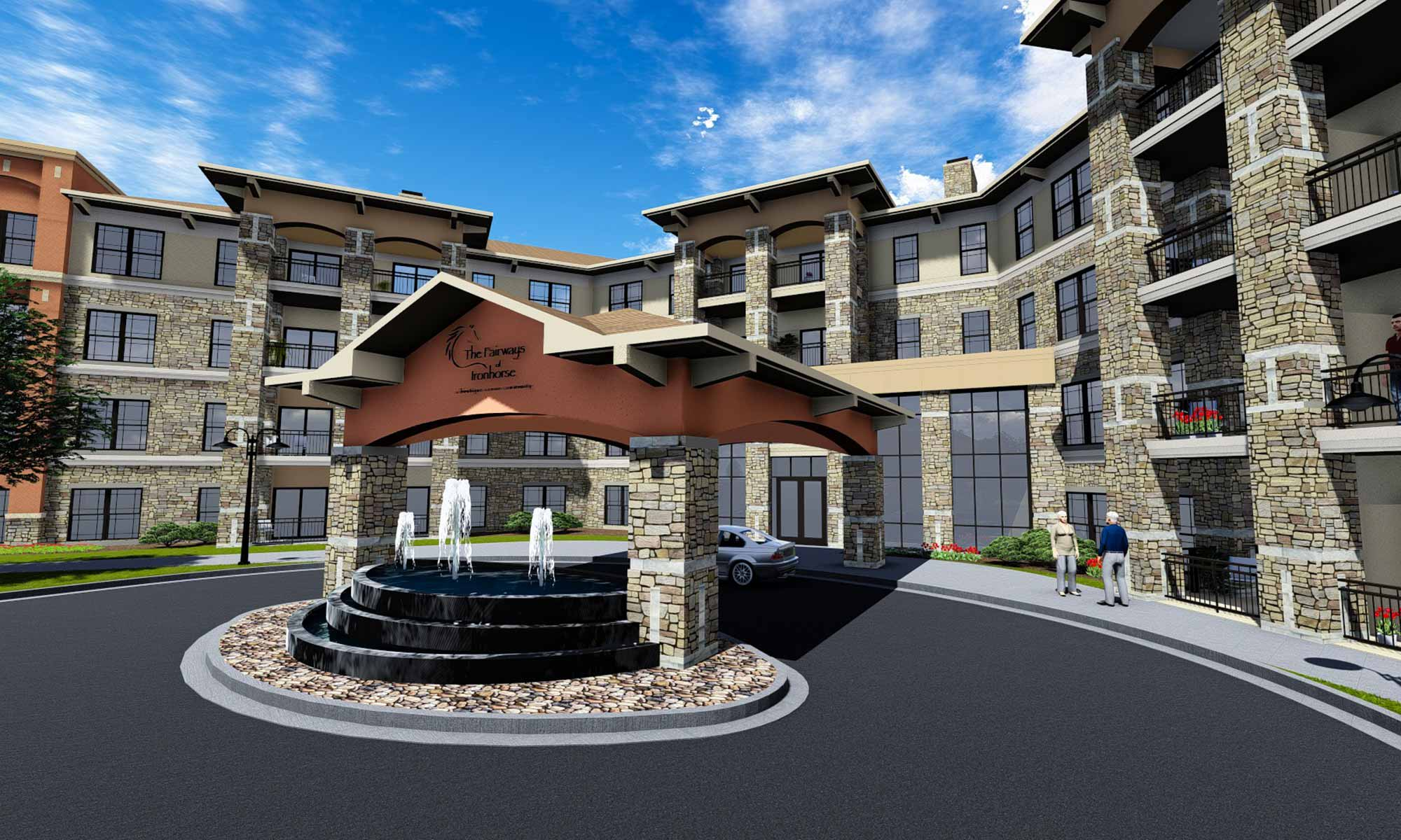 Exterior view of the lavish entryway with fountain at The Fairways of Ironhorse in Leawood