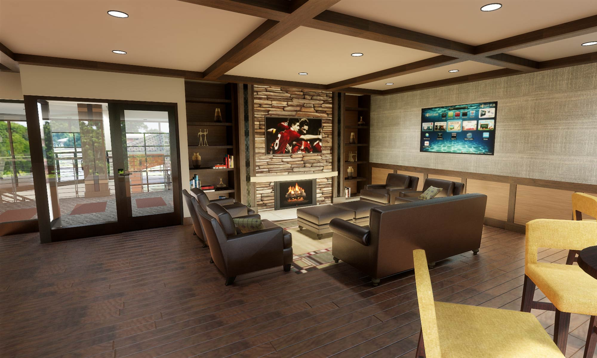 Another interior view of the restaurant and bar at The Fairways of Ironhorse in Leawood