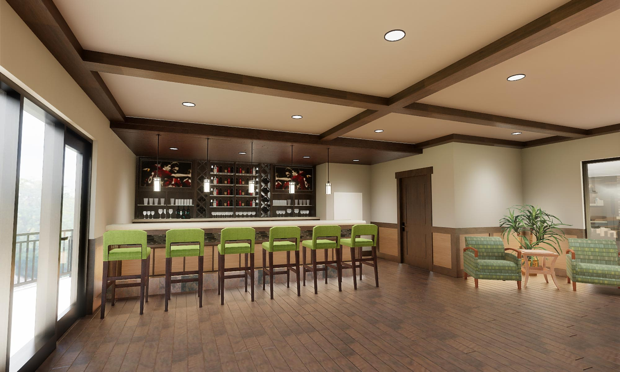 View of the bar at The Fairways of Ironhorse in Leawood