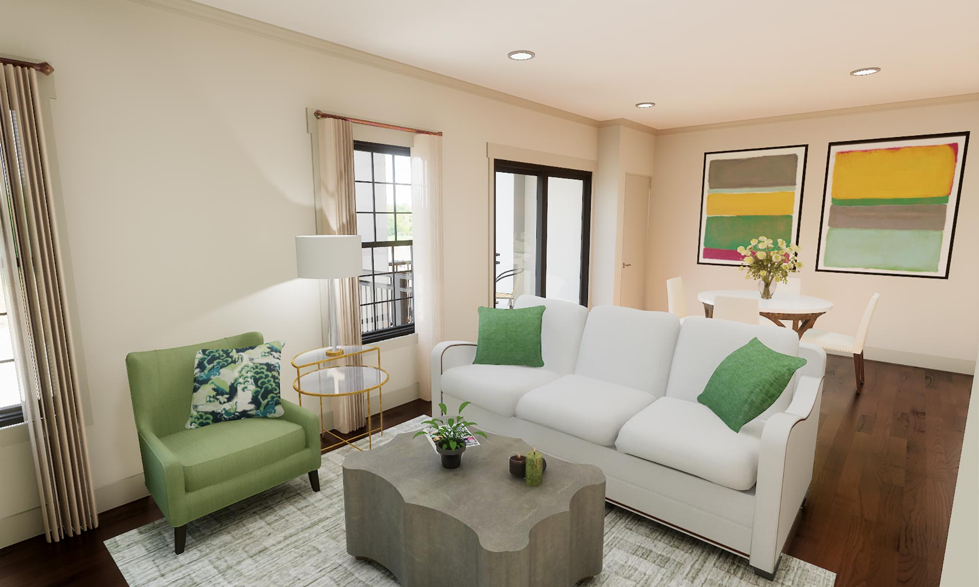 Bright and airy living room in luxury home at The Fairways of Ironhorse in Leawood