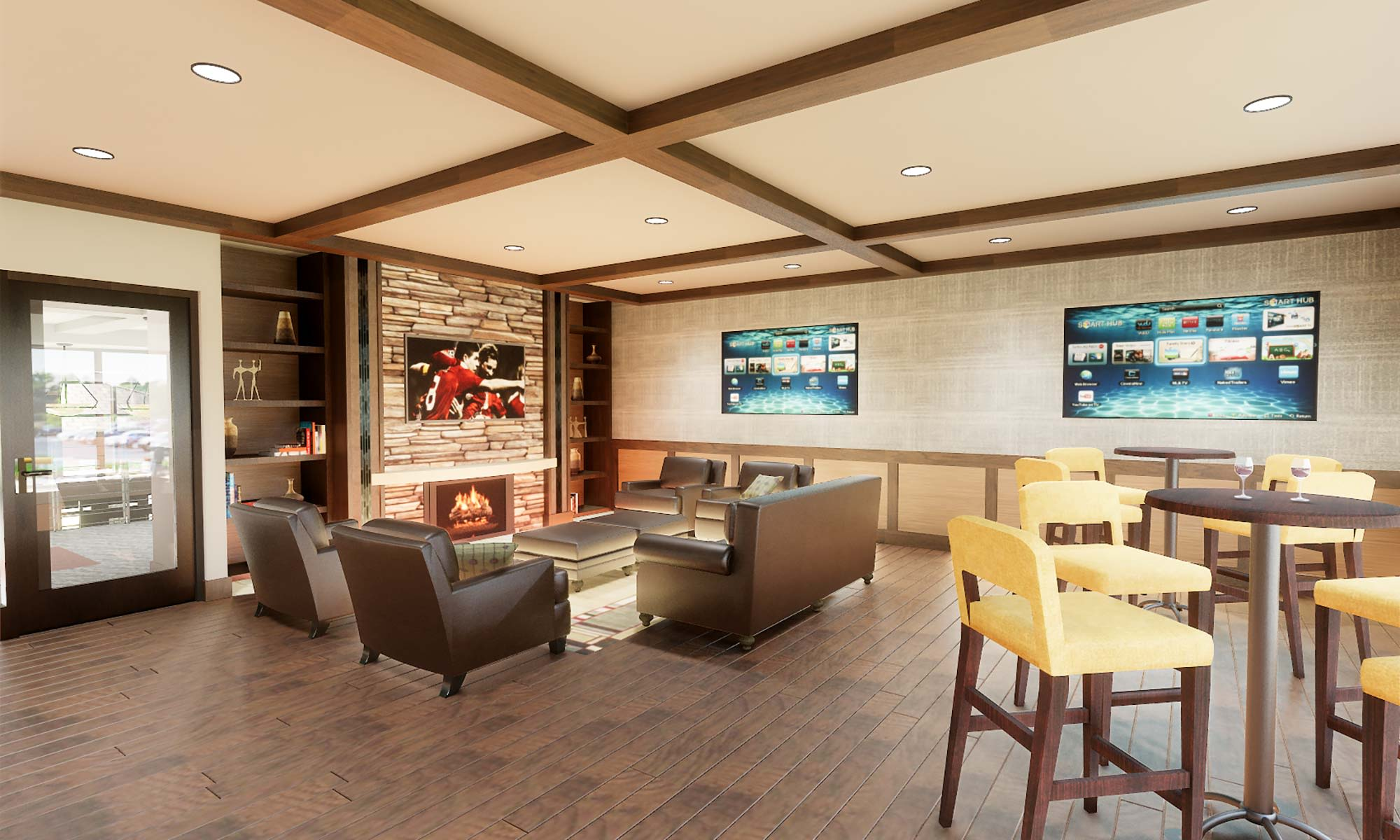 Plenty of flatscreen TVs in the bar at The Fairways of Ironhorse so you can watch whatever you like