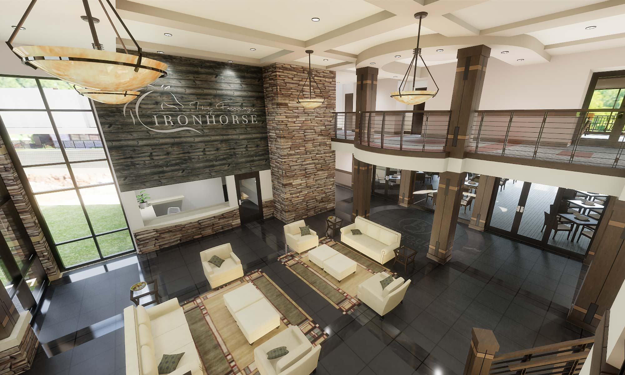 View of our lobby from the mezzanine at The Fairways of Ironhorse in Leawood