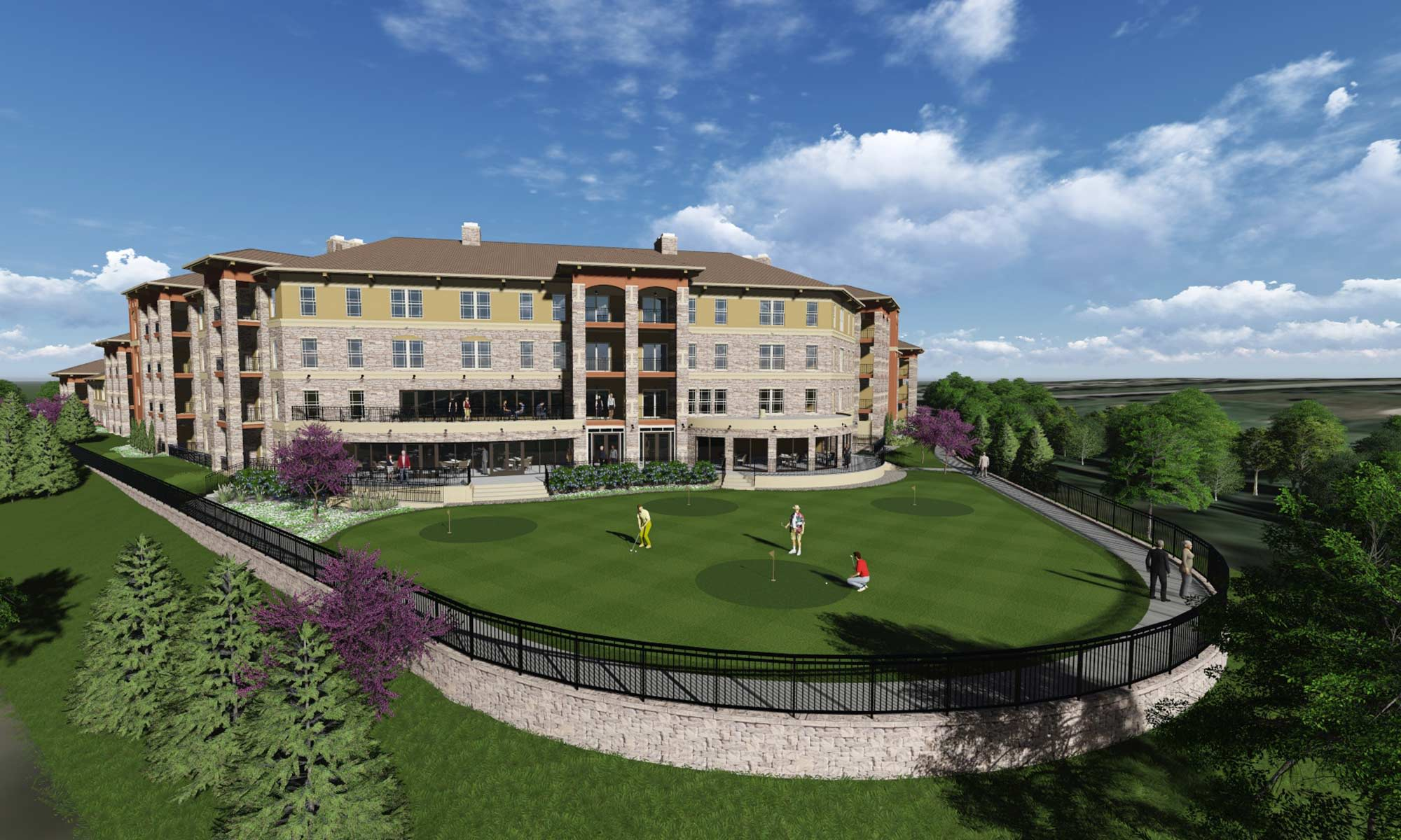 Fly-by view of The Fairways of Ironhorse in Leawood, showcasing the on-site putting green