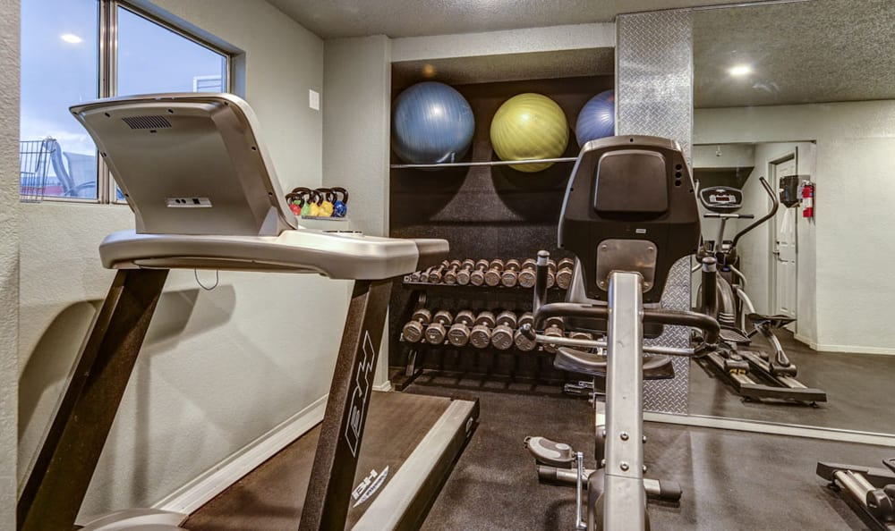 Fitness center at Orchard Corners Apartments