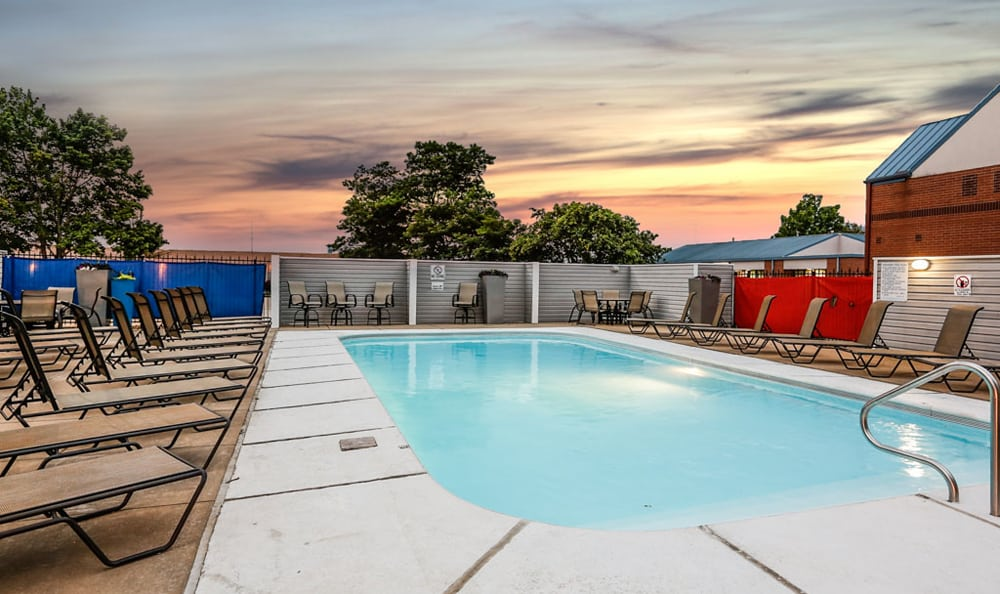 Sunset pool at Orchard Corners Apartments