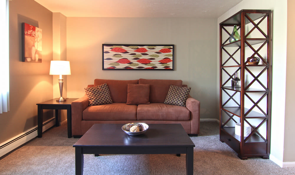 Cozy and inviting living room in affordable apartment home at Columbus Park in Bedford Heights
